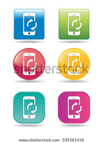Synchronize mobile phone icons - stock vector