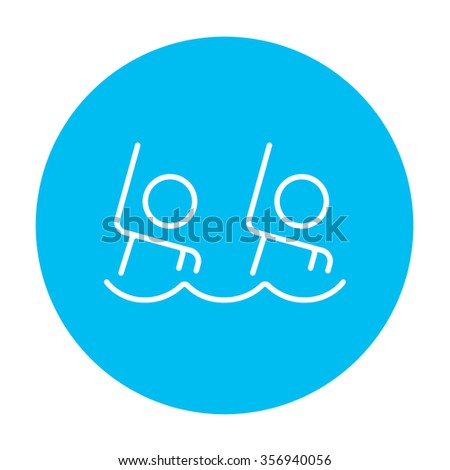 Synchronized swimming line icon for web, mobile and infographics. Vector white icon on the light blue circle isolated on white background. - stock vector
