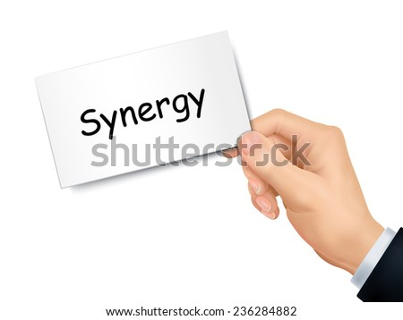 synergy card in hand isolated over white background - stock vector