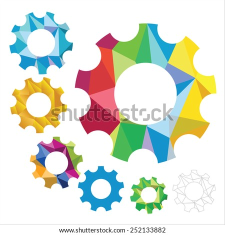 synergy gear of crumpled paper in different colors, gold and contour multicolored gears