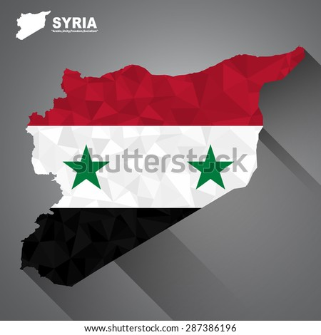 Syria flag overlay on Syria map with polygonal and long tail shadow style (EPS10 art vector) - stock vector