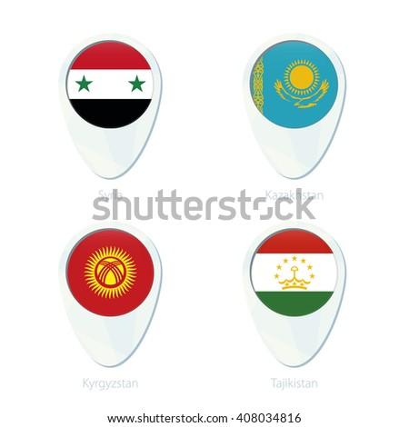 Syria, Kazakhstan, Kyrgyzstan, Tajikistan flag location map pin icon. Vector Illustration. - stock vector