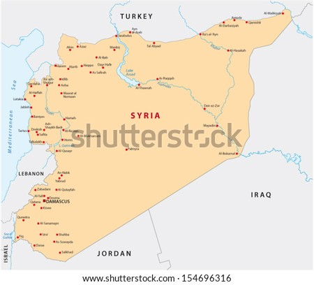 syria map - stock vector