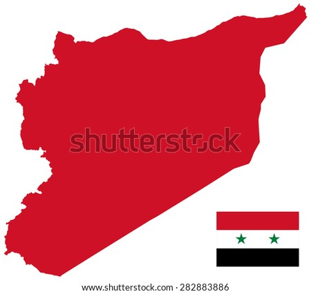 Syria map and Flag - stock vector