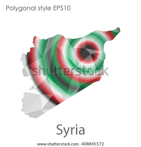 Syria map in geometric polygonal style. Abstract triangle, modern design background