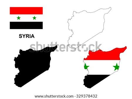 Syria map vector, Syria flag vector, isolated Syria - stock vector