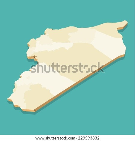 Syria map vector Three Dimensional - stock vector