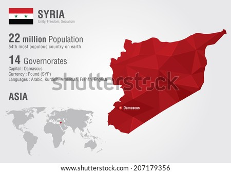 Syria World map with a pixel diamond texture. World Geography.