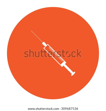 Syringe. Flat white symbol in the orange circle. Vector illustration icon - stock vector