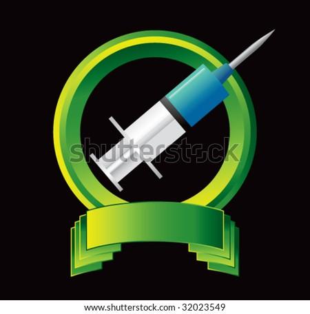 syringe on green display - stock vector
