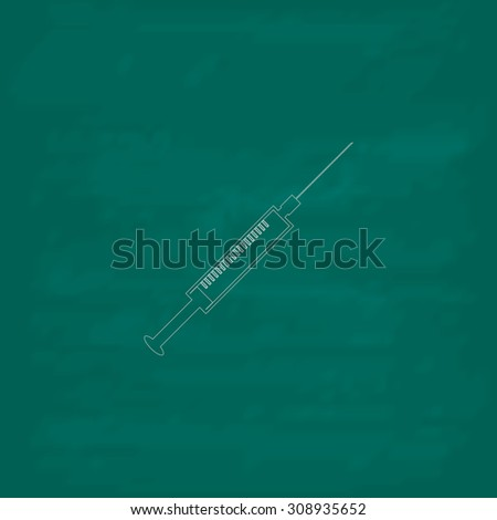 Syringe. Outline vector icon. Imitation draw with white chalk on green chalkboard. Flat Pictogram and School board background. Illustration symbol - stock vector