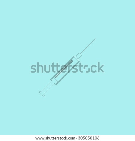 Syringe. Simple outline flat vector icon isolated on blue background - stock vector