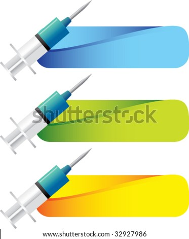 syringes on colored tabs - stock vector