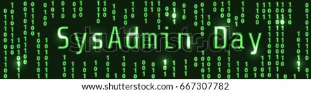 SysAdmin Day. Web banner with computer screen and binary code background