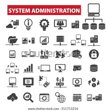 system administration black isolated concept icons, illustrations set. Flat design vector for web, infographics, apps, mobile phone servces - stock vector