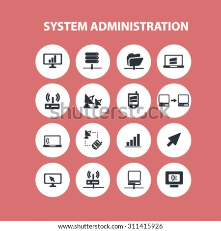 system administration concept icons, signs set, vector - stock vector