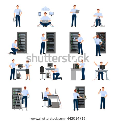 System administrator flat icons set of server racks and network engineers involved in maintenance of system modules isolated vector illustration   - stock vector