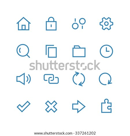 System icon set - vector minimalist. Different symbols on the white background.