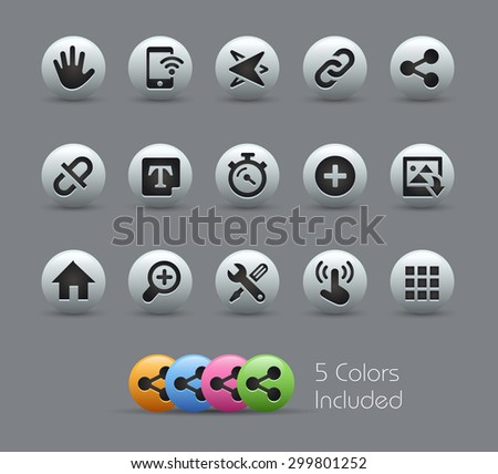 System Icons Interface // Pearly Series ----- The Vector file includes 5 color versions for each icon in different layers ----- - stock vector