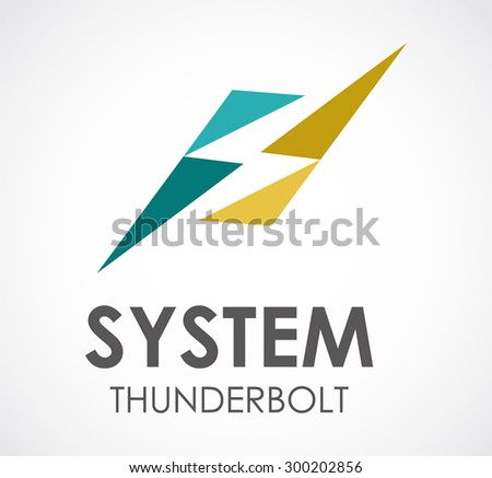 System thunderbolt electricity abstract vector logo design template electronic business company icon for corporate identity symbol concept - stock vector