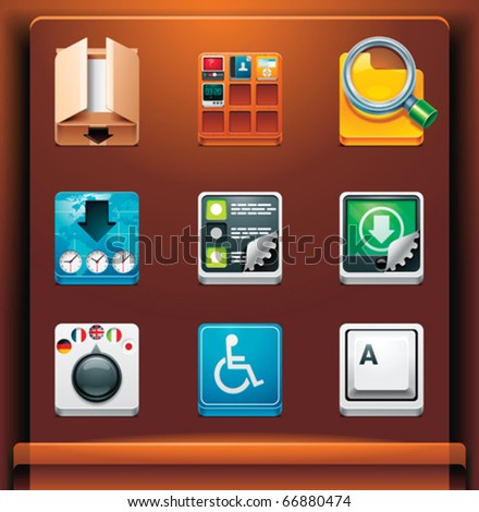 System tools. Mobile devices apps/services icons. Part 10 of 12 - stock vector