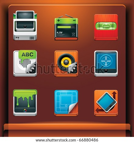 System tools. Mobile devices apps/services icons. Part 9 of 12 - stock vector