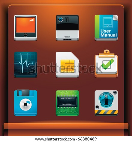 System tools. Mobile devices apps/services icons. Part 7 of 12 - stock vector