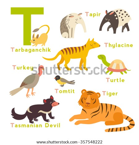 t letter animals set english alphabet stock vector 357548222