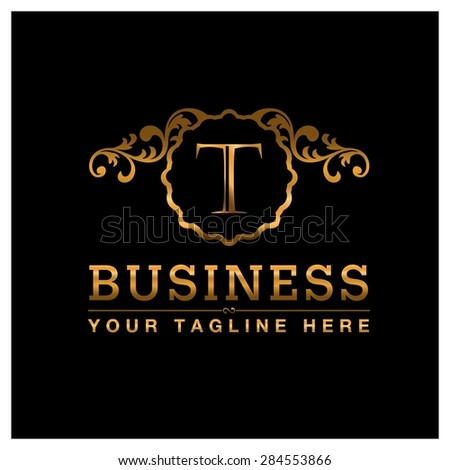 T letter Gold Luxury Logo template flourishes calligraphic elegant ornament lines. Business sign identity for Restaurant, Royalty, Cafe, Hotel, Heraldic, Jewelry, Fashion and other vector illustration