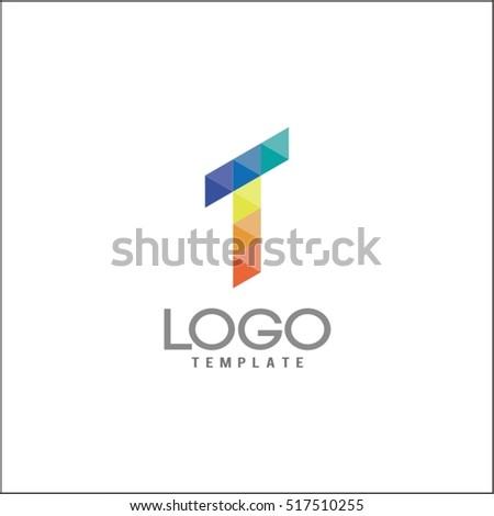 T Letter Logo Icon Mosaic Pattern Design Template Element
