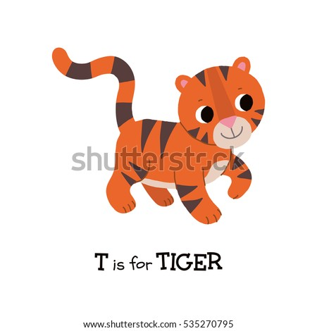 T Letter Tracing Standing Tiger Cute Children Zoo Alphabet Flash Card Funny Cartoon