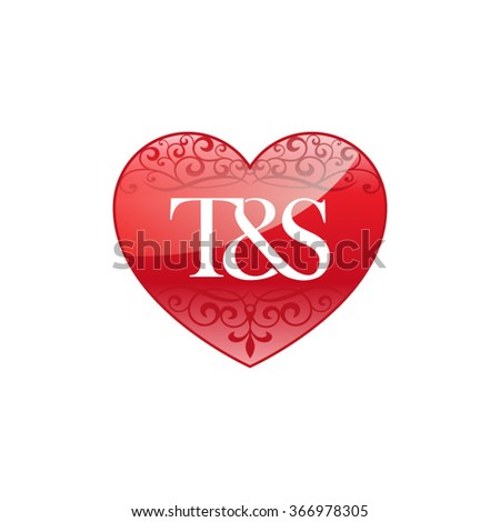 ts initial letter logo ornament heart stock vector 366978305