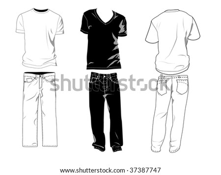 T-shirt and pants templates/mockups for your own designs. Shadows can be hidden, t-shirts and pants are on separate layers with sublayers where you may place your own design. - stock vector