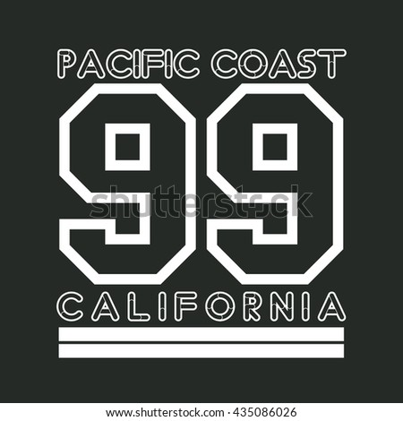 T-shirt California, atletics Typography, Fashion CA, sport design the logo, the number of floral patterns, graphic print image,  original design clothing