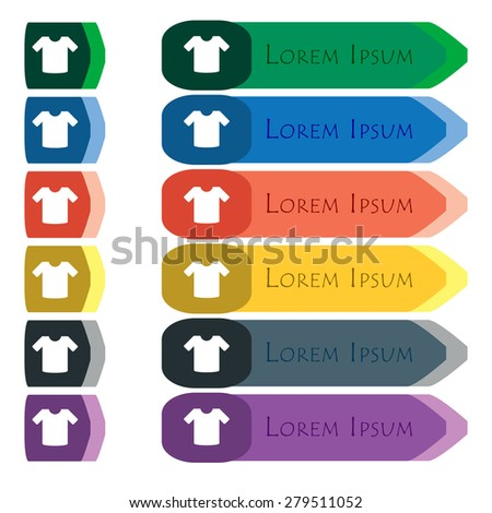 T-shirt, Clothes  icon sign. Set of colorful, bright long buttons with additional small modules. Flat design. Vector - stock vector