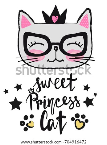 T shirt design baby kitty crown stock vector 704916472 - Princesse kitty ...