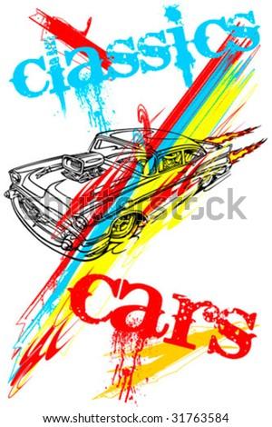 T-shirt design - classics cars - stock vector