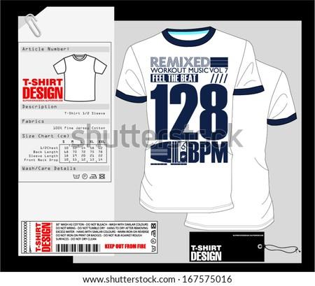 T-Shirt Design / Print Design / Music Print Tee - stock vector