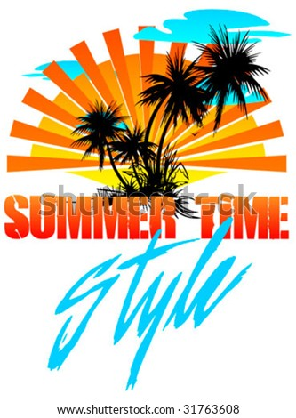 t-shirt design - summer time style - stock vector
