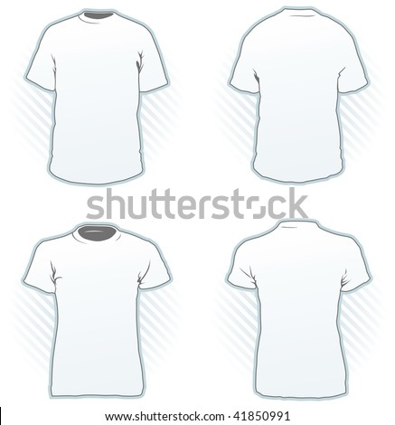 T-shirt design template set including male and female, front and back view - Look at the portfolio for other sets - stock vector
