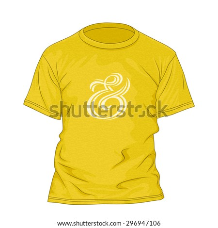 T-shirt design template with texture and ampersand hand lettering. Yellow t-shirt with ampersand symbol. Vector illustration - stock vector