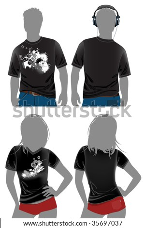 T-shirt design templates in dark colors. All elements and textures are individual objects. Vector illustration scale to any size. - stock vector