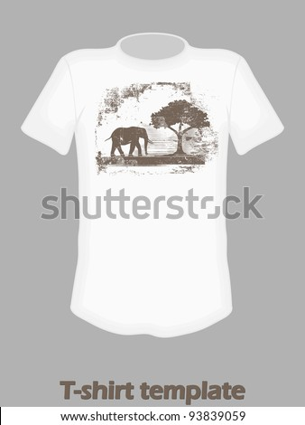 t-shirt design with elephant print - stock vector