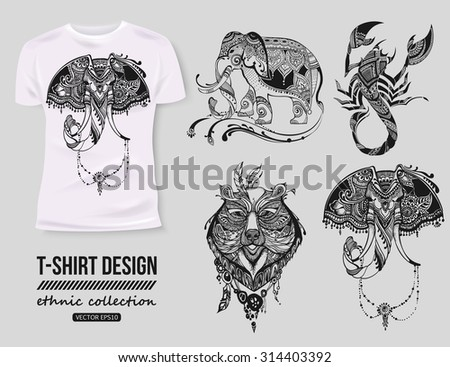 T-shirt design with hand-drawn ethnic animals collection, mehendi tatoo style. White isolated t-shirt. Ethnic african, indian, totem tatoo elephant, scorpion, bear vector illustration. - stock vector