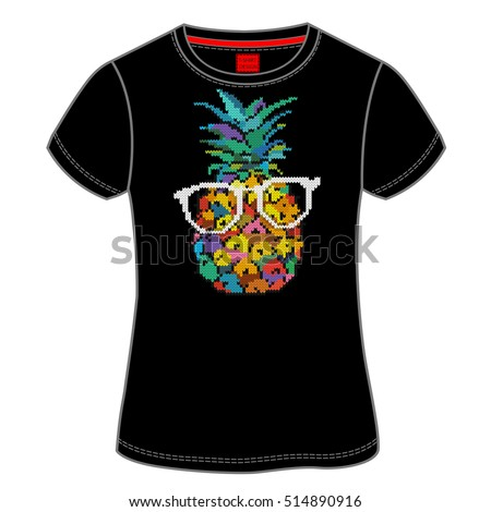 T-shirt design with image of a pineapple in glasses. Jacquard knitting. Vector illustration.