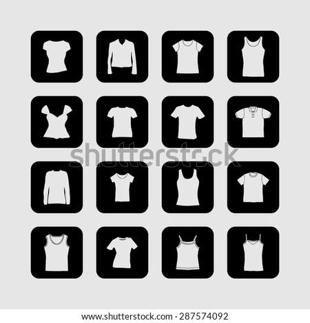 t-shirt fashion wear icon set - stock vector