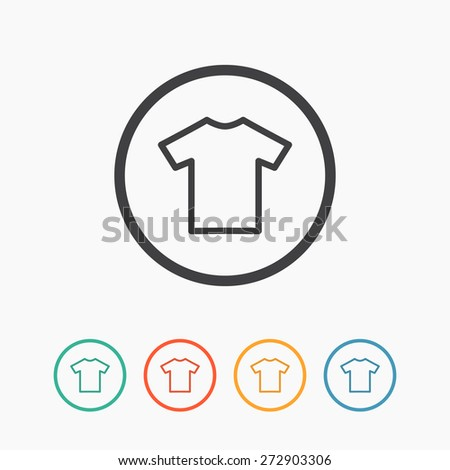 T-shirt flat simple blank icon vector. Clothes symbol on colored buttons - stock vector