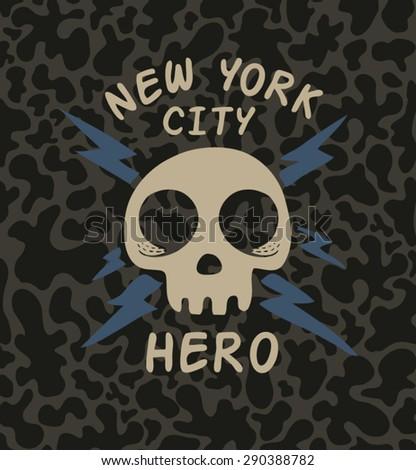 T-shirt Graphics/skull print/skull illustration/evil skull/concert posters/rock and roll themed graphic/varsity graphic/new york city hero/camouflage pattern/graphic for kids/skull vector/skull art - stock vector