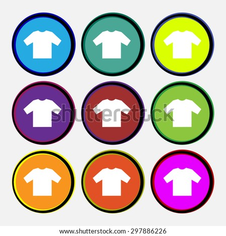 t-shirt icon sign. Nine multi colored round buttons. Vector illustration - stock vector
