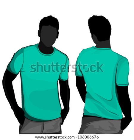 T-shirt men back and front. Men body silhouette.